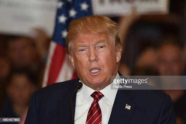 Presidential candidate Donald Trump gestures in a press conference unveiling his comprehensive tax reform plan at Trump Tower