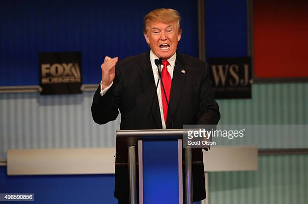 Presidential candidate Donald Trump speaks during the Republican Presidential Debate sponsored by Fox Business and the Wall Street Journal at the...