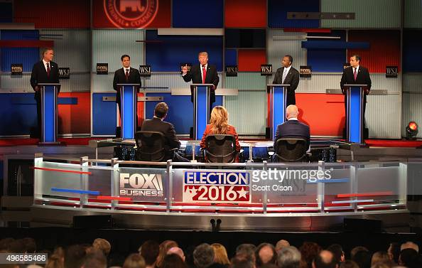 Presidential candidate Donald Trump speaks while Jeb Bush Sen Marco Rubio Ben Carson and Ted Cruz take part in the Republican Presidential Debate...
