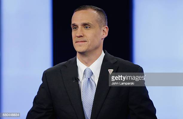 Presidential Candidate Donald Trump's campaign manager Corey Lewandowski visits Fox Business Network with Lou Dobbs at FOX Studios on May 10 2016 in...