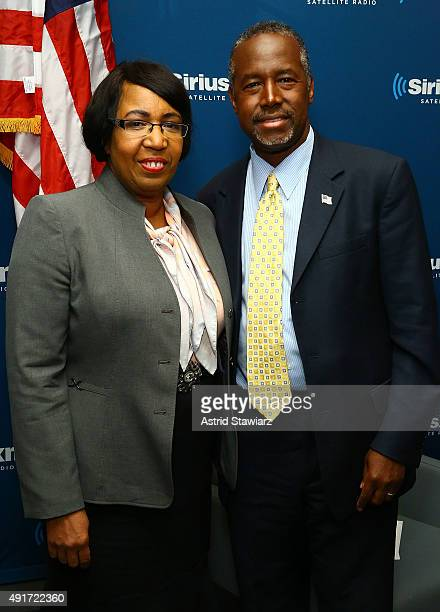 Presidential Candidate Dr Ben Carson poses with wife Candy Carson at SIRIUS XM Studios on October 7 2015 in New York City