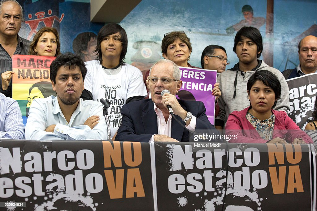Presidential Candidate for PPK Pedro Pablo Kuczynski speaks during a rally to support the campaign 'Keiko No Va' on May 30, 2016 in Lima Peru.