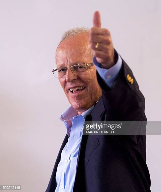 Presidential candidate for the 'Peruanos por el Kambio' party Pedro Pablo Kuczynski an exprime minister and Wall Street banker who is second in last...