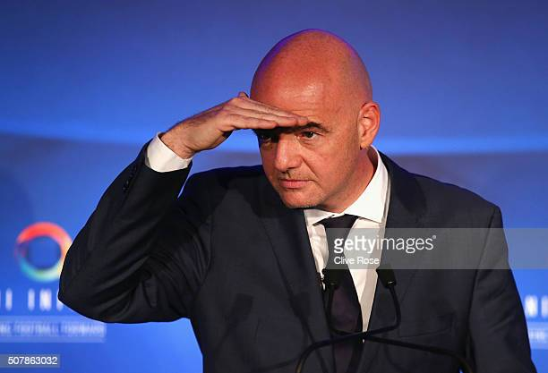 Presidential candidate Gianni Infantino looks on during a press conference at Wembley Stadium on February 1 2016 in London England