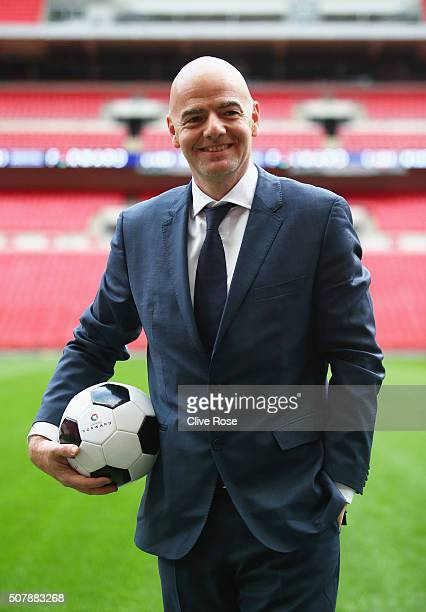 Presidential candidate Gianni Infantino poses after his press conference at Wembley Stadium on February 1 2016 in London England