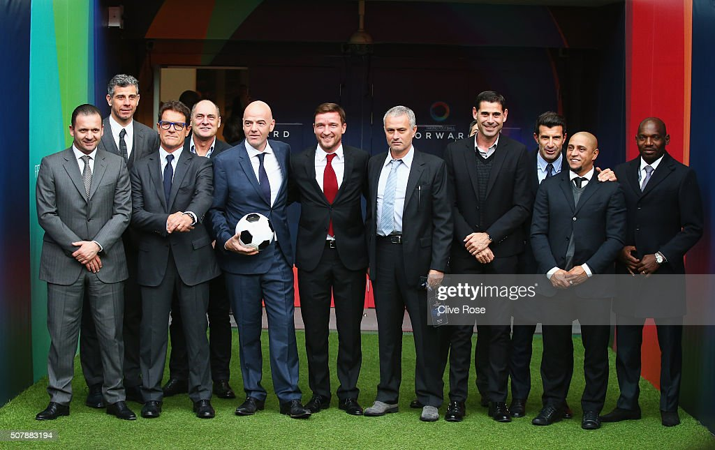 Presidential candidate <a gi-track='captionPersonalityLinkClicked' href=/galleries/search?phrase=Gianni+Infantino&family=editorial&specificpeople=5637052 ng-click='$event.stopPropagation()'>Gianni Infantino</a> (with football) poses with Predrag Mijatovic (L), Francesco Toldo (2ndL), <a gi-track='captionPersonalityLinkClicked' href=/galleries/search?phrase=Fabio+Capello&family=editorial&specificpeople=241290 ng-click='$event.stopPropagation()'>Fabio Capello</a> (3rdL), Silvino Louro (4thL), <a gi-track='captionPersonalityLinkClicked' href=/galleries/search?phrase=Vladimir+Smicer&family=editorial&specificpeople=215319 ng-click='$event.stopPropagation()'>Vladimir Smicer</a> (red tie), former Chelsea manager Jose Mourinho (5thR), <a gi-track='captionPersonalityLinkClicked' href=/galleries/search?phrase=Fernando+Hierro&family=editorial&specificpeople=204337 ng-click='$event.stopPropagation()'>Fernando Hierro</a> (4thR), <a gi-track='captionPersonalityLinkClicked' href=/galleries/search?phrase=Luis+Figo&family=editorial&specificpeople=201507 ng-click='$event.stopPropagation()'>Luis Figo</a> (3rdR), <a gi-track='captionPersonalityLinkClicked' href=/galleries/search?phrase=Roberto+Carlos+-+Soccer+Player+-+Born+1973&family=editorial&specificpeople=12315671 ng-click='$event.stopPropagation()'>Roberto Carlos</a> (2ndR) and <a gi-track='captionPersonalityLinkClicked' href=/galleries/search?phrase=Geremi&family=editorial&specificpeople=214700 ng-click='$event.stopPropagation()'>Geremi</a> Njitap (R) after <a gi-track='captionPersonalityLinkClicked' href=/galleries/search?phrase=Gianni+Infantino&family=editorial&specificpeople=5637052 ng-click='$event.stopPropagation()'>Gianni Infantino</a>'s press conference at Wembley Stadium on February 1, 2016 in London, England.