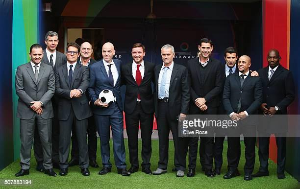 Presidential candidate Gianni Infantino poses with Predrag Mijatovic Francesco Toldo Fabio Capello Silvino Louro Vladimir Smicer former Chelsea...