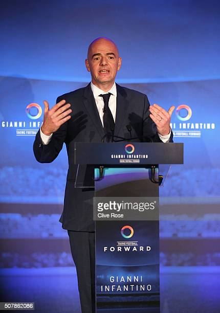 Presidential candidate Gianni Infantino talks during a press conference at Wembley Stadium on February 1 2016 in London England