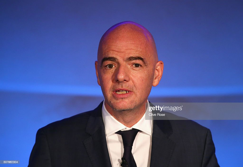 Presidential candidate <a gi-track='captionPersonalityLinkClicked' href=/galleries/search?phrase=Gianni+Infantino&family=editorial&specificpeople=5637052 ng-click='$event.stopPropagation()'>Gianni Infantino</a> talks during a press conference at Wembley Stadium on February 1, 2016 in London, England.