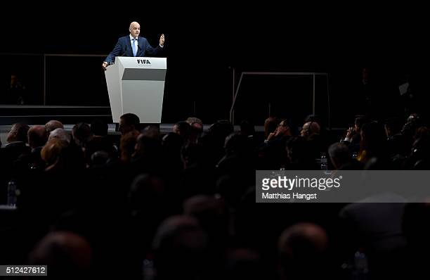 Presidential candidate Gianni Infantino talks during the Extraordinary FIFA Congress at Hallenstadion on February 26 2016 in Zurich Switzerland