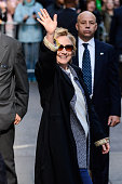 Presidential candidate Hillary Rodham Clinton leaves the 'Good Morning America' taping at the ABC Times Square Studios on April 21 2016 in New York...