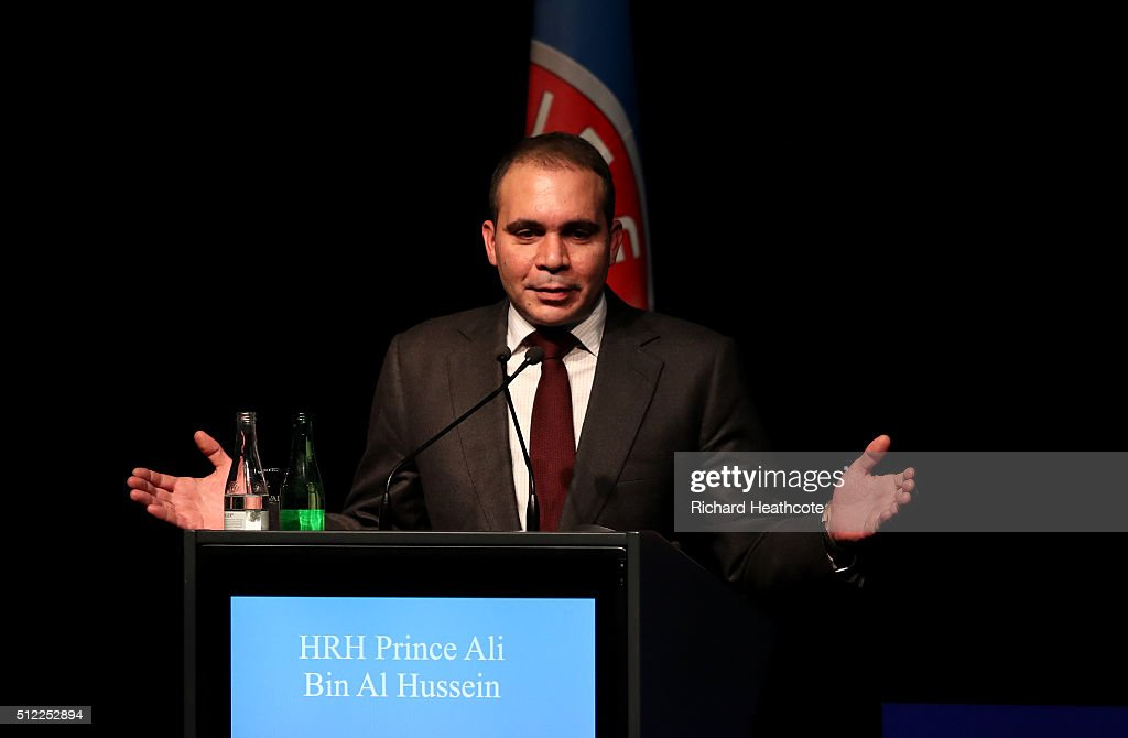 FIFA presidential candidate HRH Prince Ali Bin Al Hussein addresses the UEFA XI Extraordinary Congress at the Swissotel on February 25 2016 in Zurich...