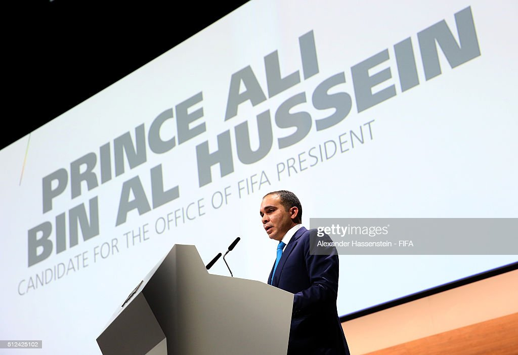 Presidential candidate H.R.H <a gi-track='captionPersonalityLinkClicked' href=/galleries/search?phrase=Prince+Ali+Bin+Al+Hussein&family=editorial&specificpeople=160174 ng-click='$event.stopPropagation()'>Prince Ali Bin Al Hussein</a> talks during the Extraordinary FIFA Congress at Hallenstadion on February 26, 2016 in Zurich, Switzerland.