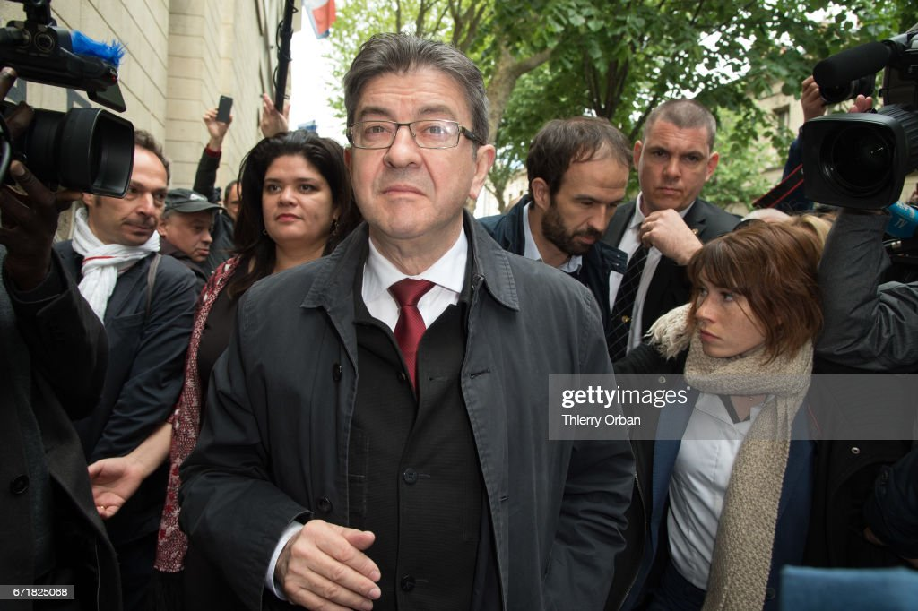 Presidential Candidate Jean Luc Melenchon Votes In Paris : News Photo