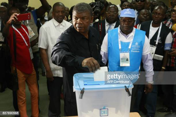 presidential candidate Joao Lourenco casts his vote in Luanda on August 23 2017 during the general elections Angolans cast their ballots on August 23...