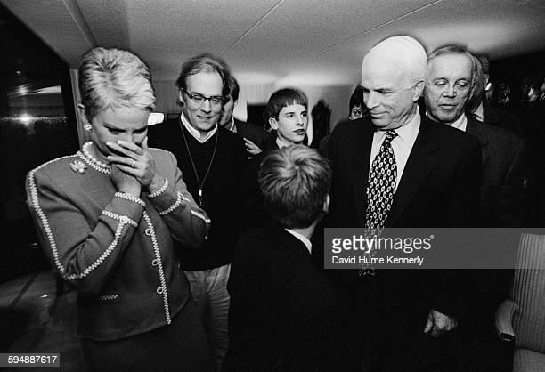 Presidential candidate John McCain with his family and members of his campaign team including his wife Cindy McCain and political advisor Mike Murphy...