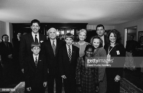 Presidential candidate John McCain with his wife Cindy McCain and children pose for the camera February 1 2000 in New Hampshire They are from left...