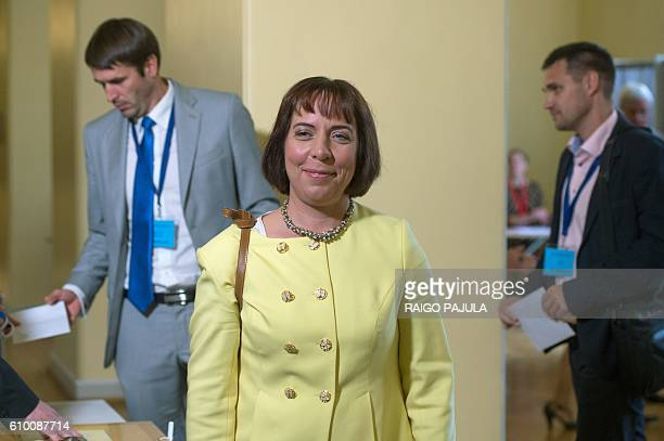 Presidential candidate Mailis Reps attends the Estonian presidential elections in Tallinn on September 24 2016 Estonia's electoral college meets to...
