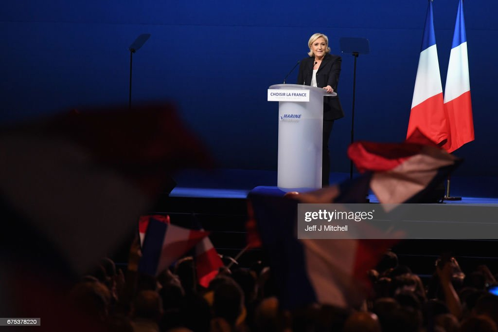 Presidential Candidate Marine Le Pen speaks at an election rally on May 1, 2017 in Villepinte, France. Le Pen faces Emmanuel Macron in the final round of the French presidential elections on May 07.
