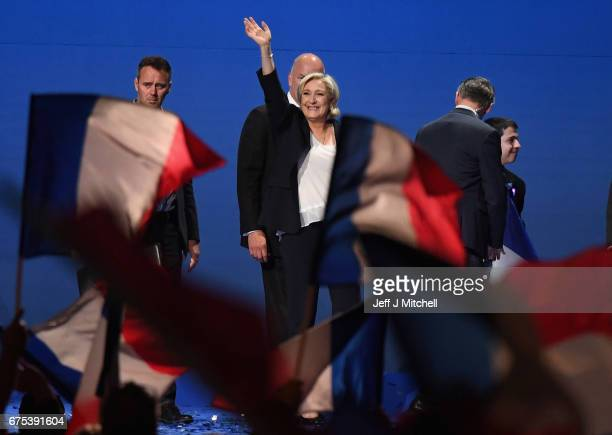 Presidential Candidate Marine Le Pen thanks her supporters during an election rally on May 1 2017 in Villepinte France Le Pen faces Emmanuel Macron...