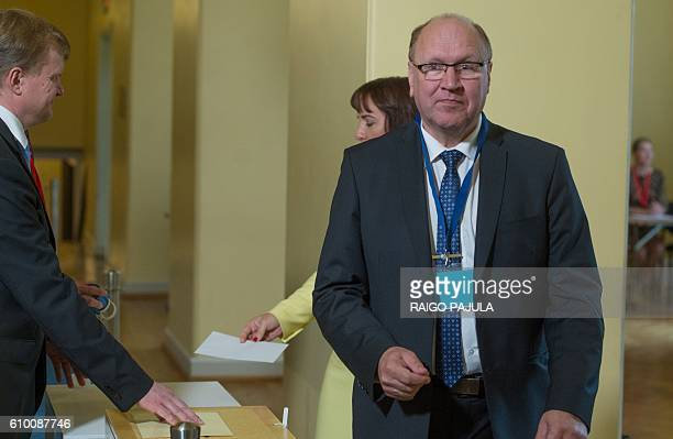 Presidential candidate Mart Helme attends the Estonian presidential elections in Tallinn on September 24 2016 Estonia's electoral college meets to...
