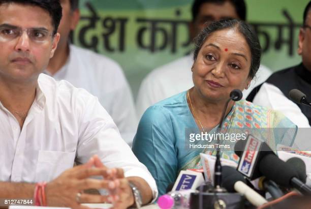 Presidential candidate Meira Kumar with Rajasthan Congress President Sachin Pilot interacting with media persons at state Congress office on June 11...