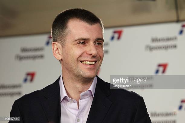 Presidential candidate Mikhail Prokhorov speaks during a press conference in his election office on March 04 2012 in Moscow Russia Despite recent...