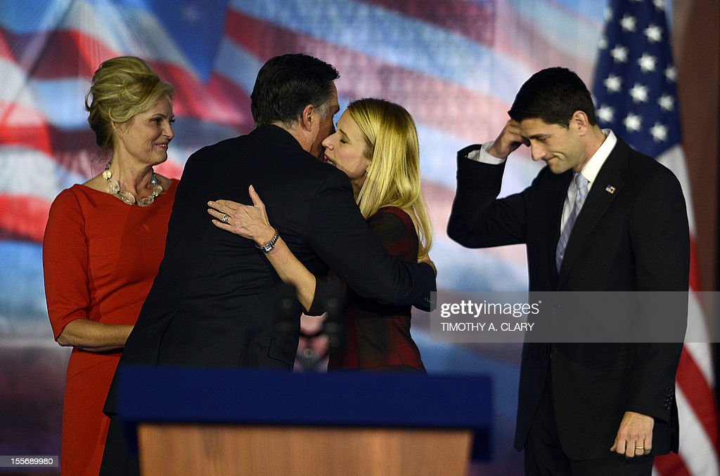 US Presidential candidate Mitt Romney (2nd L) hugs Janna Ryan, wife of US Vice Presidential candidate Paul Ryan (R), on election night November 7, 2012 in Boston Massachusetts. Romney conceded the race to US President Barack Obama. Ann Romney is at left. AFP PHOTO/ TIMOTHY A. CLARY
