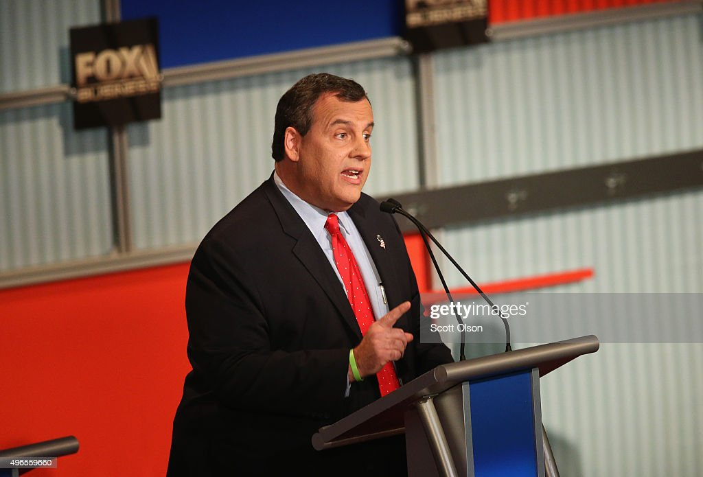 Presidential candidate New Jersey Gov. <a gi-track='captionPersonalityLinkClicked' href=/galleries/search?phrase=Chris+Christie&family=editorial&specificpeople=6480114 ng-click='$event.stopPropagation()'>Chris Christie</a> speaks during the Republican Presidential Debate sponsored by Fox Business and the Wall Street Journal at the Milwaukee Theatre November 10, 2015 in Milwaukee, Wisconsin. The fourth Republican debate is held in two parts, one main debate for the top eight candidates, and another for four other candidates lower in the current polls.