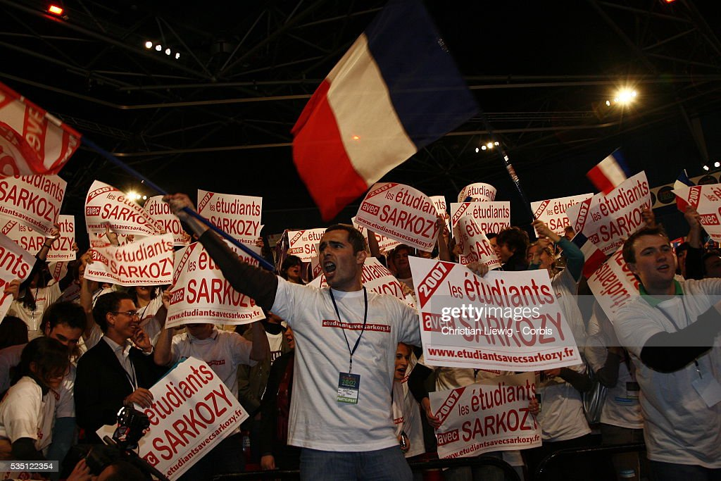 UMP presidential candidate Nicolas Sarkozy attends a campaign rally at the Zenith Sarkozy student supporters