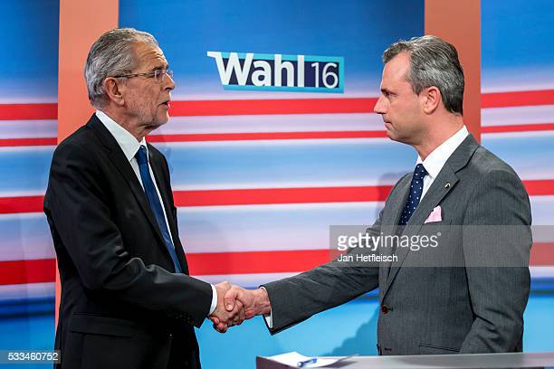 Presidential candidate of the Freedom Party Norbert Hofer and Presidential candidate of Green Party Alexander Van der Bellen attend a TV programme at...