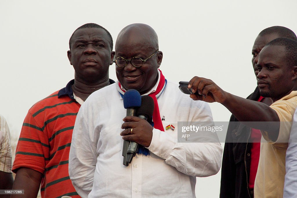Presidential candidate of the opposition New Patriotic Party Nana AkufoAddo speaks to a crowd of supporters at a rally in Accra on December 11 2012...