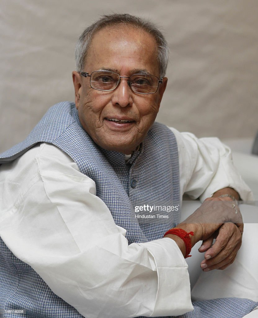UPA Presidential candidate <a gi-track='captionPersonalityLinkClicked' href=/galleries/search?phrase=Pranab+Mukherjee&family=editorial&specificpeople=565924 ng-click='$event.stopPropagation()'>Pranab Mukherjee</a> attends a press conference at his residence during high tea on July 10, 2012 in New Delhi, India.