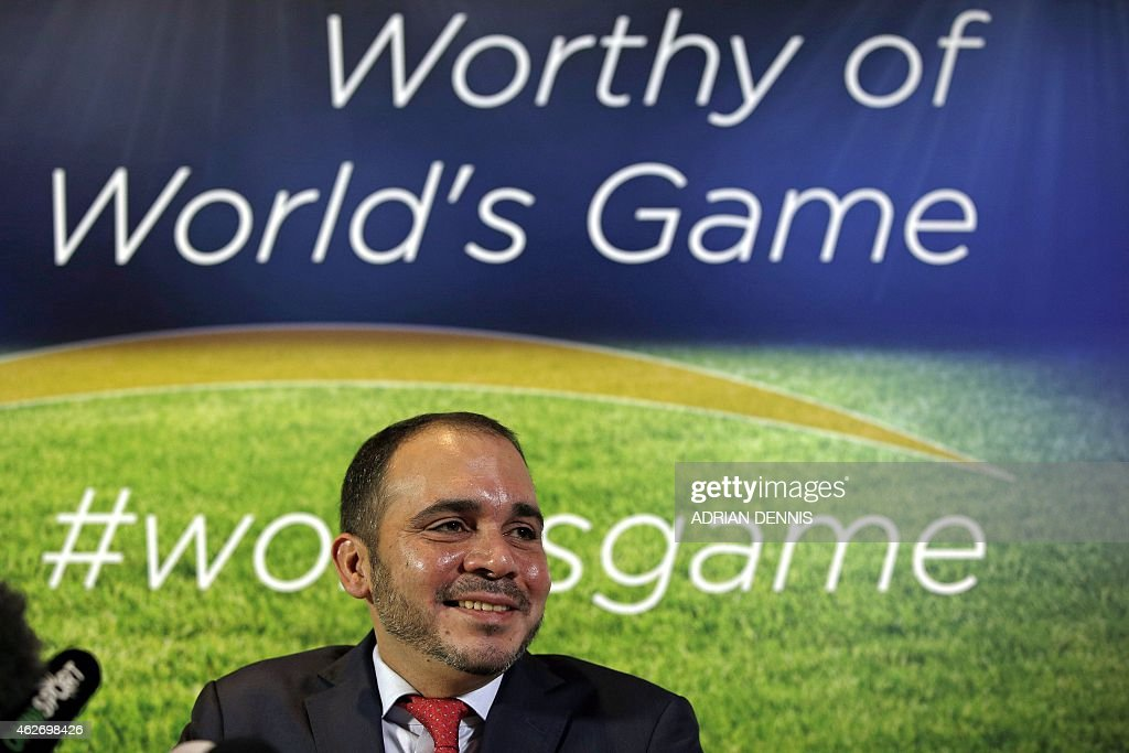 FIFA presidential candidate Prince Ali bin Al Hussein of Jordan is pictured during a press conference in central London on February 3 2015 Prince Ali...