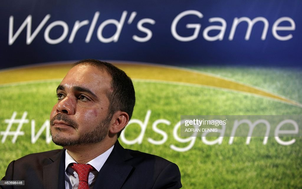 FIFA presidential candidate Prince Ali bin Al Hussein of Jordan is pictured during a press conference in central London on February 3, 2015. Prince Ali bin Al Hussein criticised the organisation's 'culture of intimidation' and challenged incumbent Sepp Blatter to a public debate as he kick-started his campaign on Tuesday. AFP PHOTO / ADRIAN DENNIS