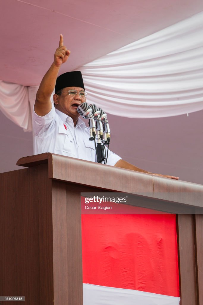 Presidential candidate retired general <a gi-track='captionPersonalityLinkClicked' href=/galleries/search?phrase=Prabowo+Subianto&family=editorial&specificpeople=3051840 ng-click='$event.stopPropagation()'>Prabowo Subianto</a>, the leader of the Gerindra party, speaks to supporters during an election rally at Gelora Bung Karno stadium on June 22, 2014 in Jakarta, Indonesia. A leaked military dismissal letter this week is again raising questions about Prabowo's involvement in human rights violations in 1998 when he was the head of Indonesia's special forces. It has not been confimed that the letter is authentic. Indonesians will elect a new president on July 9, 2014.