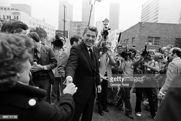 Presidential candidate Ronald Reagan shakes hands with a supporter in this 1976 Los Angeles California photo leading up to the Republican National...