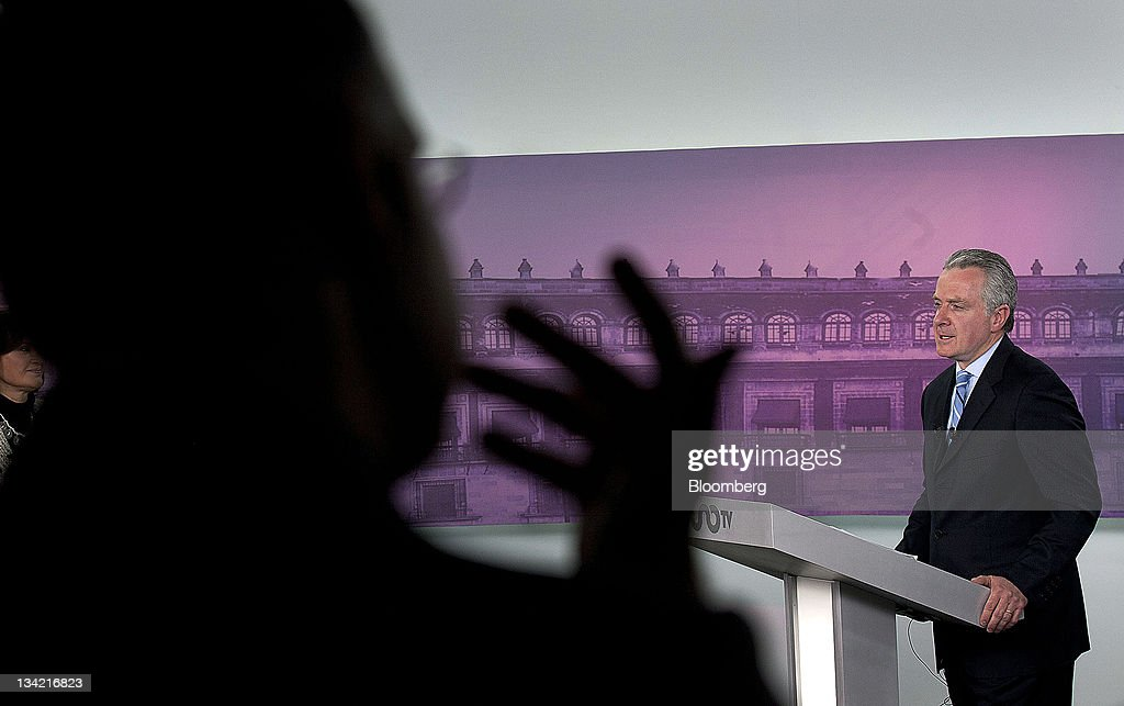 Presidential candidate Santiago Creel Miranda speaks during the National Action Party debate in Mexico City Mexico on Monday Nov 28 2011 Mexico needs...