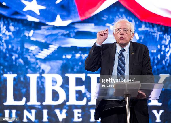 Presidential candidate Sen Bernie Sanders IVt speaks at Liberty University's Convocation in Lynchburg Va on Monday Sept 14 2015