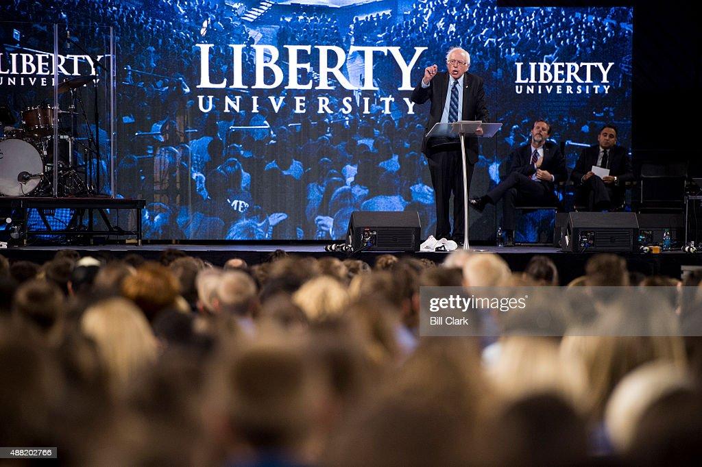 Presidential candidate Sen Bernie Sanders IVt speaks at Liberty University's Convocation in Lynchburg Va on Monday Sept 14 2015