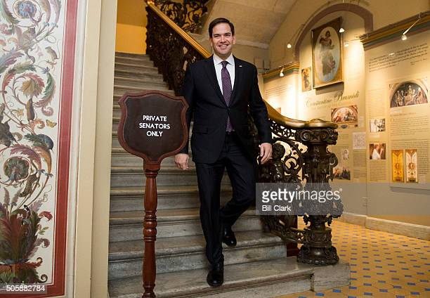 Presidential candidate Sen Marco Rubio RFla leaves the Senate floor following the cloture vote on the 'American Security Against Foreign Enemies Act...