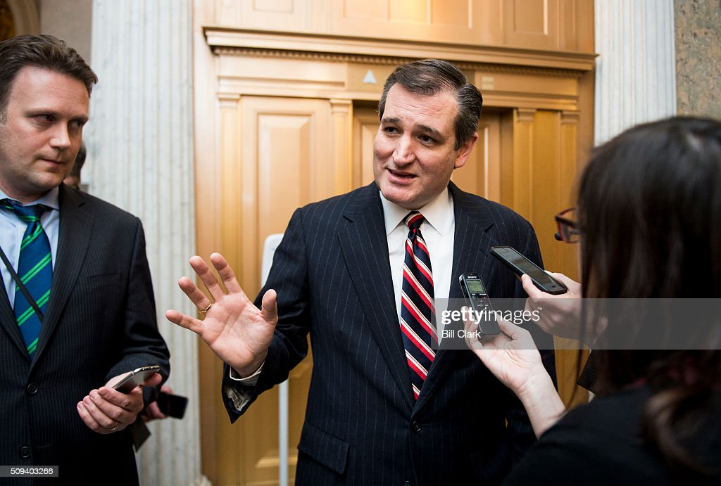 Presidential candidate Sen. Ted Cruz, R-Texas, arrives in the Capitol for a vote on North Korea sanctions on Wednesday, Feb. 10, 2016.