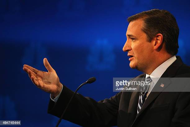 Presidential candidate Sen Ted Cruz speaks during the CNBC Republican Presidential Debate at University of Colorados Coors Events Center October 28...