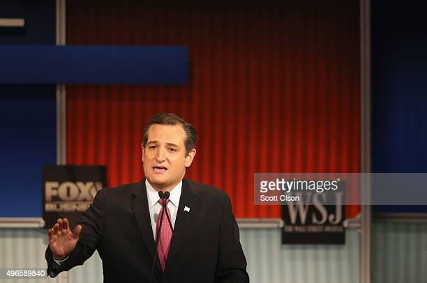 Presidential candidate Sen Ted Cruz speaks during the Republican Presidential Debate sponsored by Fox Business and the Wall Street Journal at the...