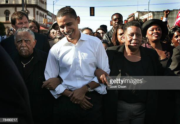Presidential candidate Senator Barack Obama marches with a crowd to the Edmund Pettus Bridge to commemorate the 1965 'Bloody Sunday' Voting Rights...