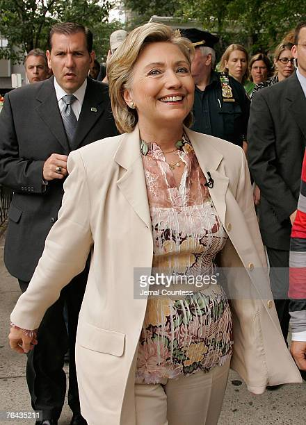 Presidential Candidate Senator Hillary Rodham walks with media personality Ellen Degeneres follwing a taping of the 'Ellen' Show at Jazz at Lincoln...