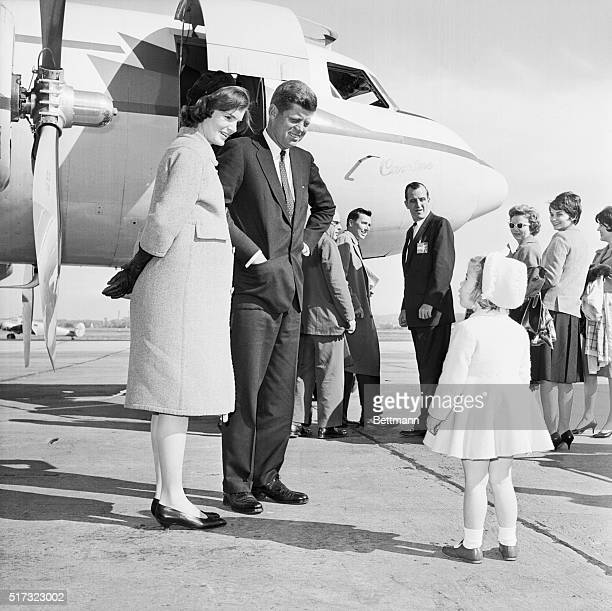 Presidential candidate Senator John F Kennedy says goodbye to his young daughter Caroline and pregnant wife Jackie before flying to Philadelphia