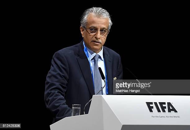 Presidential candidate Sheikh Salman Bin Ebrahim Al Khalifa talks during the Extraordinary FIFA Congress at Hallenstadion on February 26 2016 in...