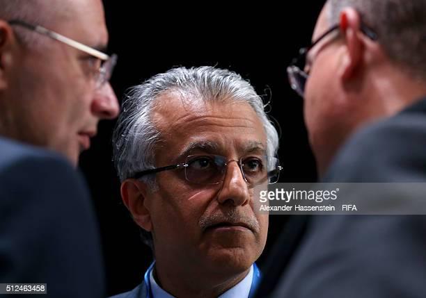 Presidential candidate Sheikh Salman Bin Ebrahim Al Khalifa talks to colleagues during the Extraordinary FIFA Congress at Hallenstadion on February...