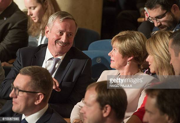 Presidential candidate Siim Kallas attends the Estonian presidential elections in Tallinn on September 24 2016 Estonia's electoral college meets to...